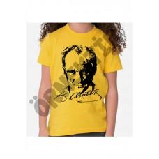 Sarı Atatürk Baskılı Çocuk Tişört