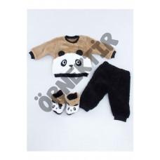 Kahverengi Peluş Sevimli Panda Erkek Bebek Patikli 3 Lü Takım