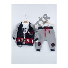 Kırmızı Kışlık Erkek Bebek 3 Lü Takım